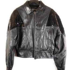 Luis Alvear Leather Jacket With Sequins